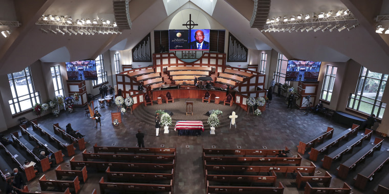 The scene is set for the funeral service for the late Rep. John Lewis, D-Ga., at Ebenezer Baptist Church in Atlanta, Thursday, July 30, 2020.