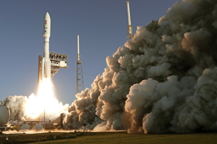 A United Launch Alliance Atlas V rocket lifts off from pad 41 at the Cape Canaveral Air Force Station Thursday, July 30, 2020, in Cape Canaveral, Fla. The mission will send a Mars rover to the Red Planet to search for signs of life, explore the planet's geology and much more.