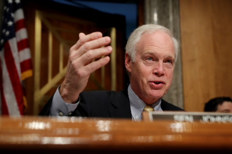 Image: Sen. Ron Johnson, R-WI, speaks at a hearing on Capitol Hill on Nov. 14, 2019.