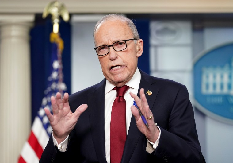 Image: White House economic adviser Larry Kudlow speaks about coronavirus the White House in Washington