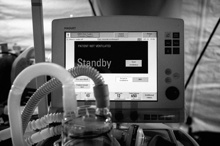 Image: A ventilator at a COVID-19 field hospital in New York's Central Park on March 31, 2020.