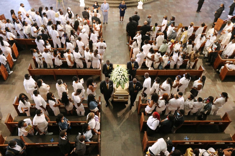 Rayshard Brooks' coffin is carried out of Ebenezer Baptist Church following his funeral in Atlanta on June 23.