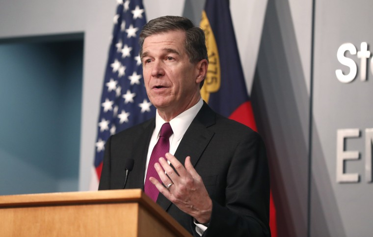 Gov. Roy Cooper answers a question during a briefing in Raleigh, N.C., on July 1, 2020.