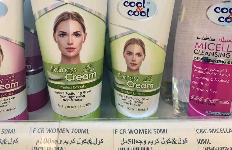 Creams promising fairer and lighter skin are displayed on shelves in Dubai, United Arab Emirates, on July 3, 2020.
