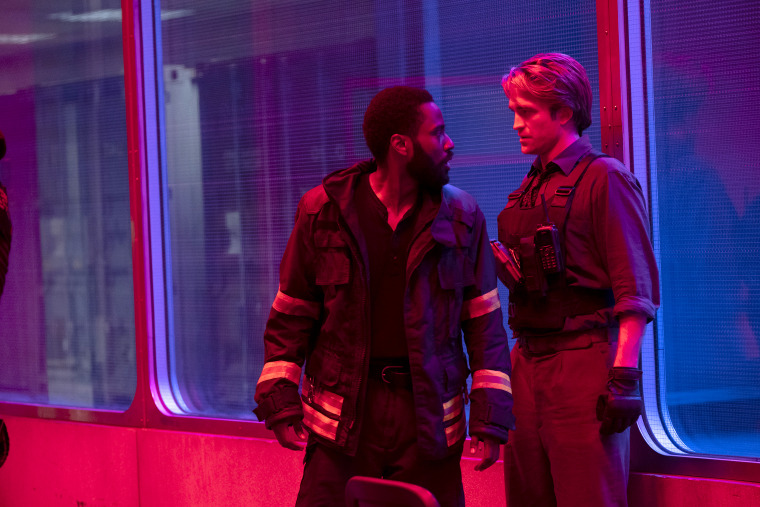 "John David Washington and Robert Pattinson in ""Tenet."""