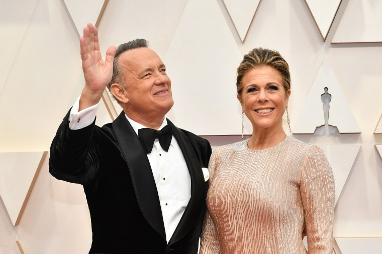 Tom Hanks and Rita Wilson attend the 92nd Annual Academy Awards in Hollywood on Feb. 9, 2020.