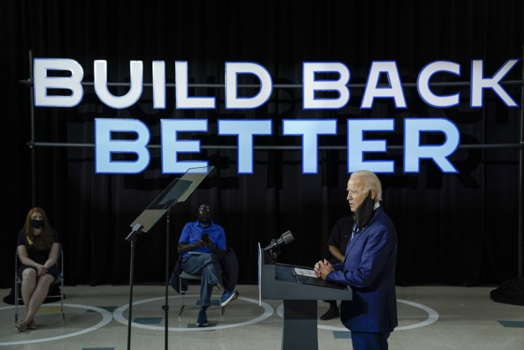 Former Vice President Joe Biden speaks about economic recovery during a campaign event in New Castle, Del., on July 21, 2020.
