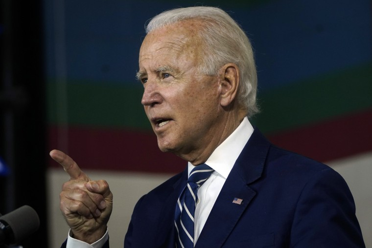 Democratic presidential candidate former Vice President Joe Biden speaks about economic recovery during a campaign event in New Castle, Del., on July 21, 2020.