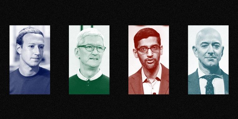 Mark Zuckerberg of Facebook, Tim Cook of Apple, Sundar Pichai of Google, and Jeff Bezos of Amazon.