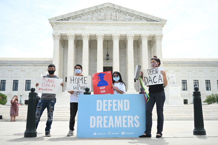 Demonstrators rally in support of Deferred Action for Childhood Arrivals outside the U.S. Supreme Court on June 15, 2020.