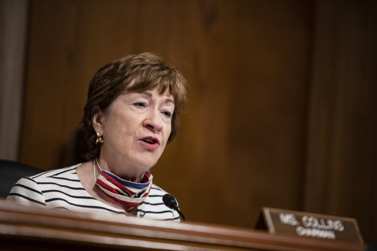 Sen. Susan Collins, R-Maine, speaks during a hearing on July 21, 2020.