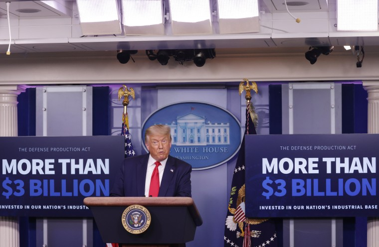 President Donald Trump speaks during a news conference at the White House on July 28, 2020. Trump announced that Eastman Kodak will receive a loan to manufacture ingredients used in pharmaceuticals.