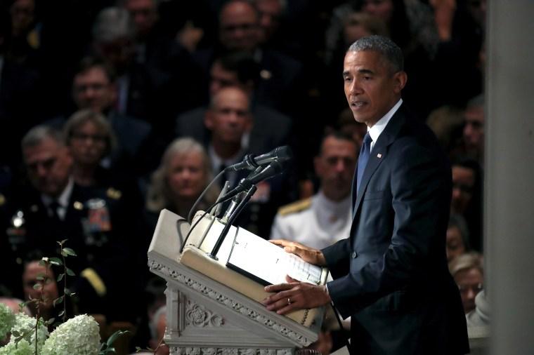 Image: Barack Obama, National Cathedral Hosts Memorial Service For Sen. John McCain (R-AZ)
