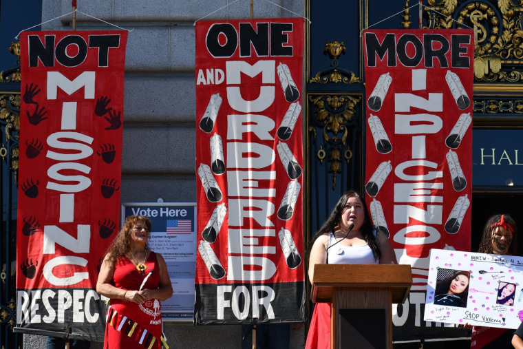 Annita Lucchesi, director of the Sovereign Bodies Institute, speaks at a rally for slain Indigenous woman Jessica Alva alongside Alva's mother, Cindy Martin-Wolfe, in San Francisco in 2019.