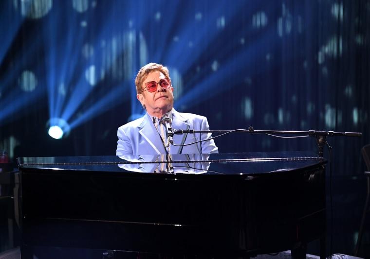 Elton John performs in Los Angeles on Oct. 16, 2019.
