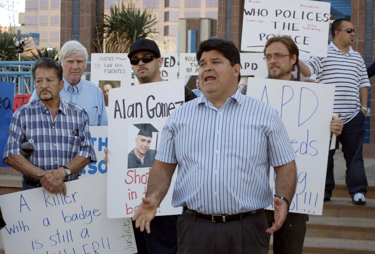 Ralph Arellanes speaks at a rally in Albuquerque, N.M., on March 8, 2012.