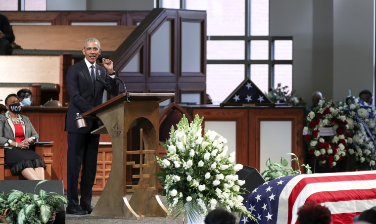 Former President Barack Obama pseaks during the funeral for the late Rep. John Lewis, D-Ga., at Ebenezer Baptist Church in Atlanta on July 30, 2020.