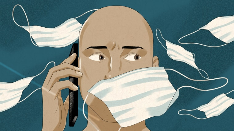 Illustration of man on cellphone looking off to the side of the frame as surgical masks blow in the wind around him.