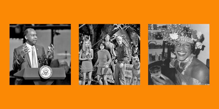 "From left to right: Housing and Urban Development Secretary Ben Carson; Sarah Michelle Gellar, Linda Cardellini, Matthew Lillard and Freddie Prinze Jr. in ""Scooby-Doo""; Marsha P. Johnson."
