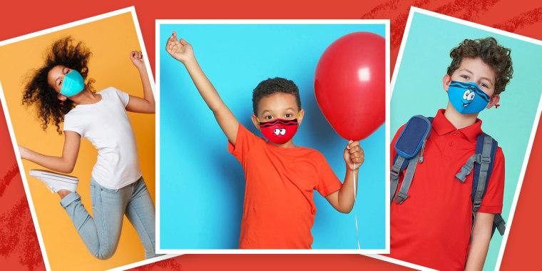 Children wearing Crayola's new SchoolMaskPack kids face mask.