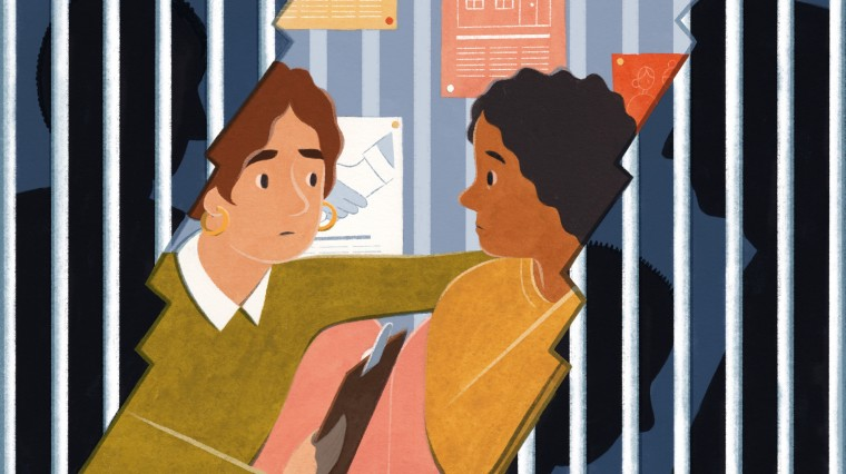 Illustration of a victim advocate speaking to a victim, outside the frame is a jail scene with silhouettes of men.