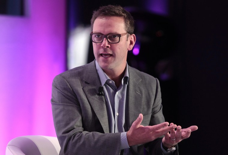 Image: James Murdoch speaks during a keynote interview at the EuroSummit '13 event in Barcelona