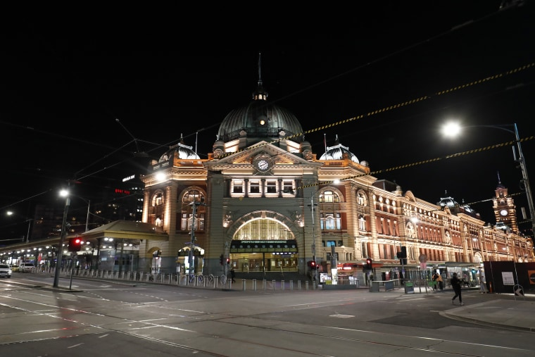 """A general view as an 8pm to 5am curfew has been introduced following a """"State of Disaster"""" in Melbourne, Australia, on Aug. 2, 2020."""