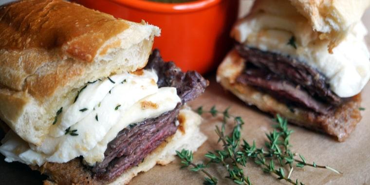 "Dina Deleasa Gonsar's Steak and ""Mutz"" Sandwich with Au Jus"