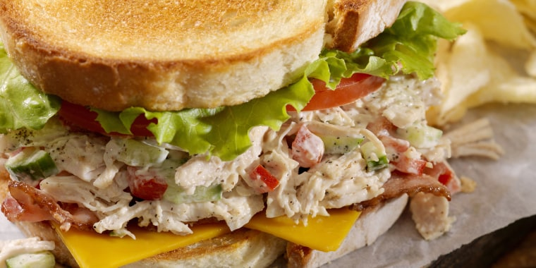 Turkey Salad and Cheddar Cheese BLT with Potato Chips