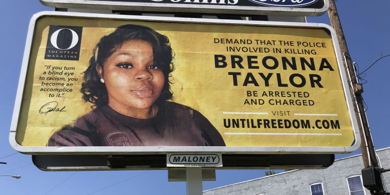 A billboard sponsored by O, The Oprah Magazine, is on display with with a photo of Breonna Taylor, Friday, Aug. 7, 2020 in Louisville, KY.