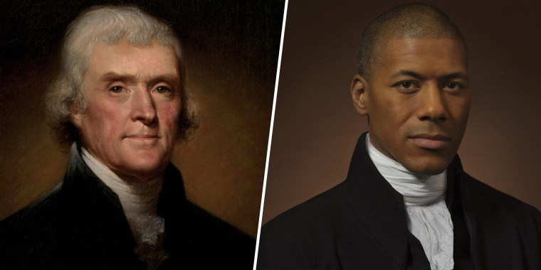 Drew Gardner, a photographer based in England, shot a portrait of Shannon LaNier (right) dressed as his forebear, former President Thomas Jefferson (left).