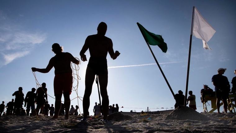 Lifeguards participate in a lifeguard competition on Long Beach Island, N.J., on Aug. 2, 2019.