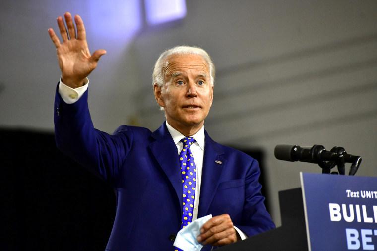 Image: Presidential Candidate Joe Biden Makes Economic Address In Wilmington, Delaware