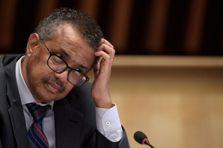 World Health Organization Director-General Tedros Adhanom Ghebreyesus attends a news conference at the WHO headquarters in on July 3, 2020.