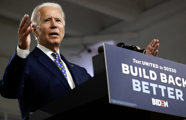 Democratic presidential candidate Joe Biden speaks at a campaign event in Wilmington, Del., on July 28, 2020.