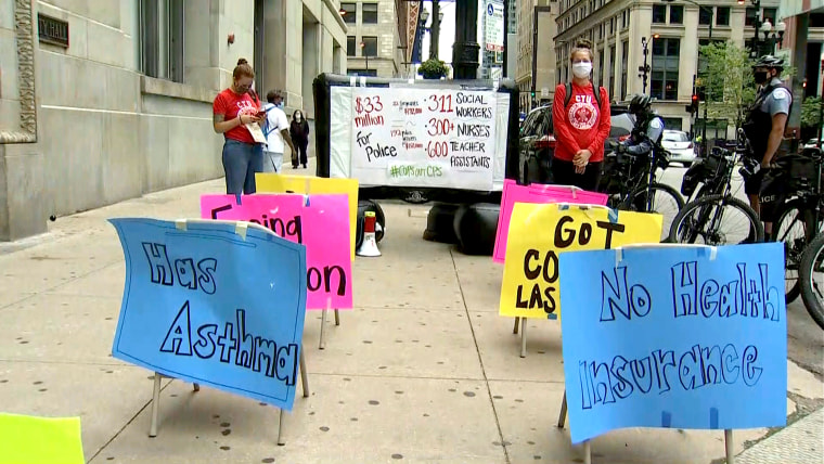 Educators in Chicago joined the National Day of Resistance to fight for safe and equitable schools amid the COVID-19 pandemic and the nationwide reckoning around social justice, on Aug. 3, 2020.