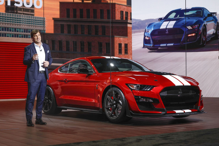 Jim Farley reveals the 2020 Ford Mustang Shelby GT 500 at the 2019 North American International Auto Show in Detroit on Jan. 14, 2019.