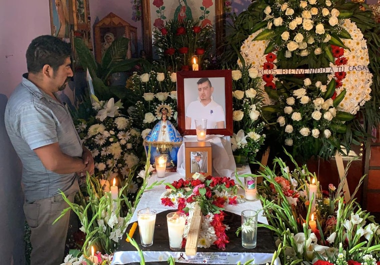 Moises Argüello in La Providencia in Puebla, Mexico, at the funeral of his brother Marcos on July 16. Marcos Argüello died from COVID-19 in New York City.
