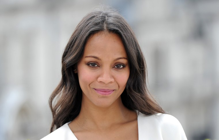 """Zoe Saldana attends the \""""Guardians of the Galacy\"""" photo-call in London on July 25, 2014."""