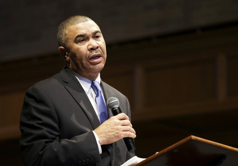 Rep. William Lacy Clay, D-Mo., speaks during a church service at Wellspring Church in Ferguson, Mo., on Jan. 18, 2015.