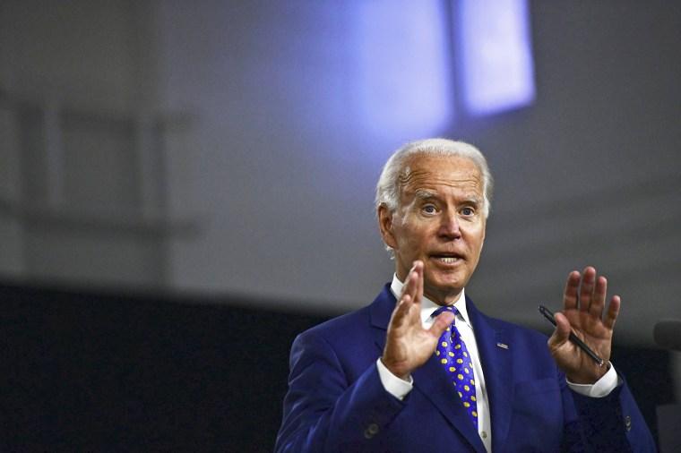 Former Vice President Joe Biden delivers a speech in Wilmington, Del., on July 28, 2020.