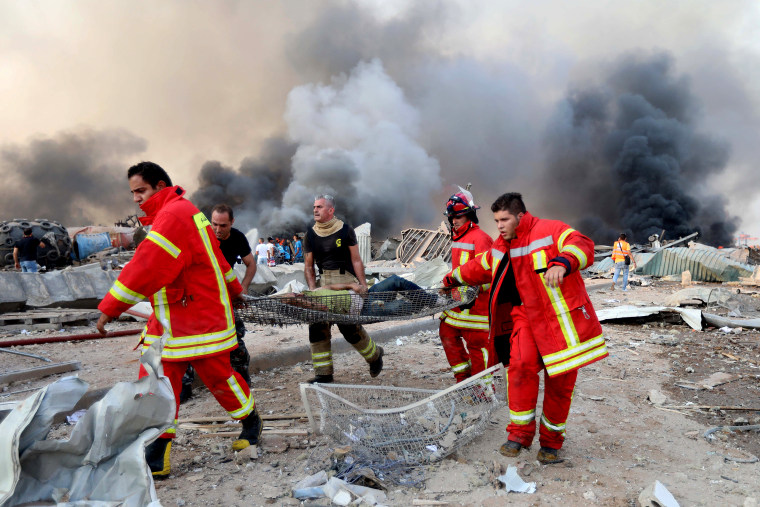 Image: Site of an explosion in Beirut
