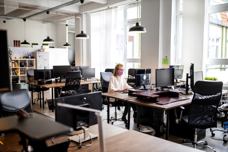 Female professional working alone in office