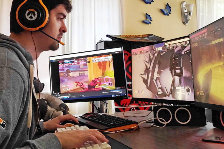 Isaac Jimenez works as a virtual cameraman, making it possible for people to watch Overwatch League, an esports league, online.