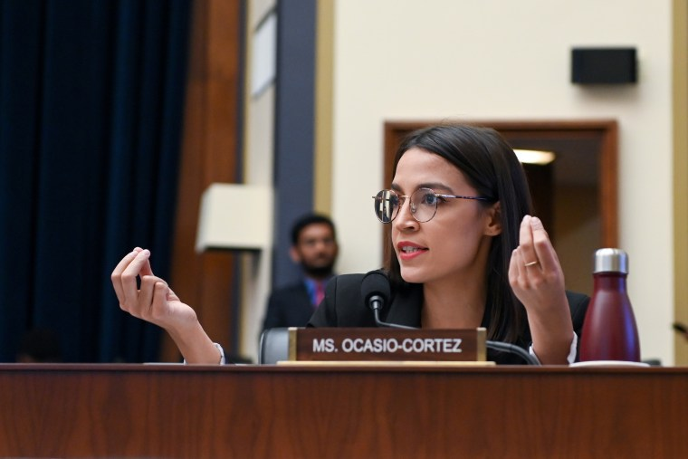 Rep. Ocasio-Cortez participates in a House Financial Services Committee hearing with Facebook Chairman and CEO Mark Zuckerberg in Washington