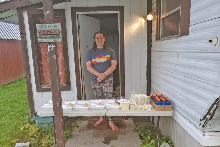 Jena Faith, at home with barbecue chicken dinners for ambulance first responders in Bath, New York.