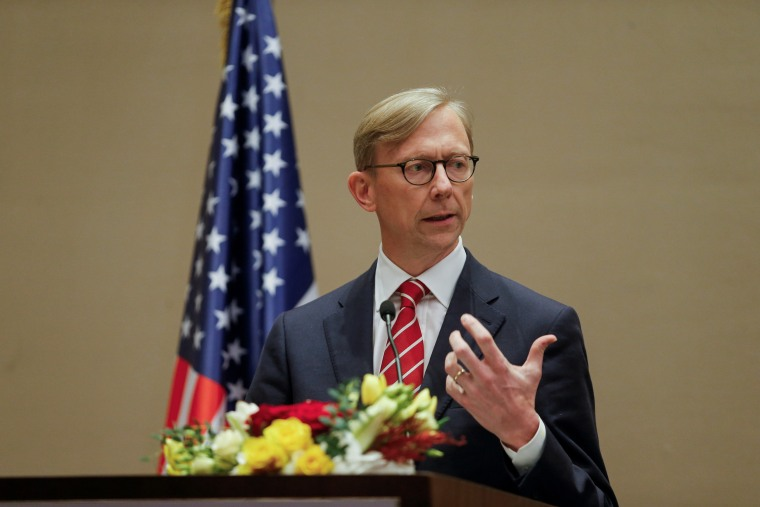 Image: FILE PHOTO: U.S. Special Representative for Iran Brian Hook speaks during a joint news conference with Bahrain Foreign Minister, Dr. Abdullatif bin Rashid Al Zayani, in Manama