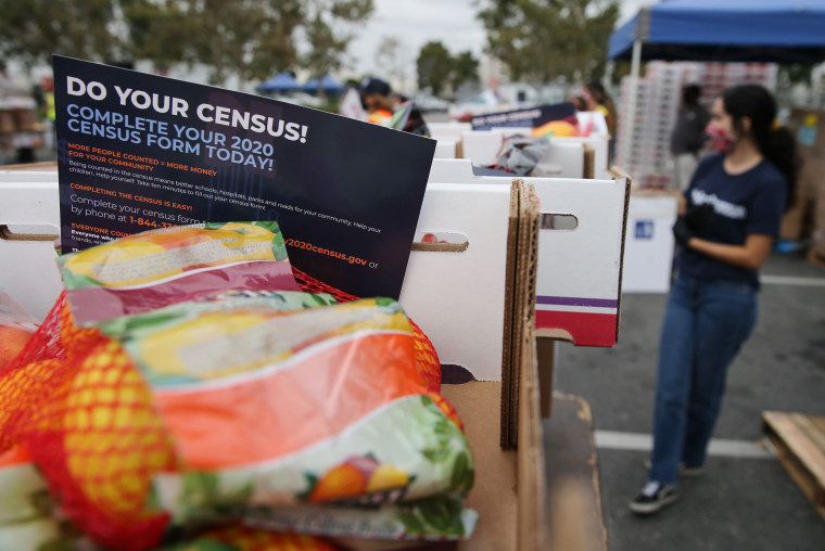 Image: Los Angeles Food Bank Distributes Food Supplies And Census Information