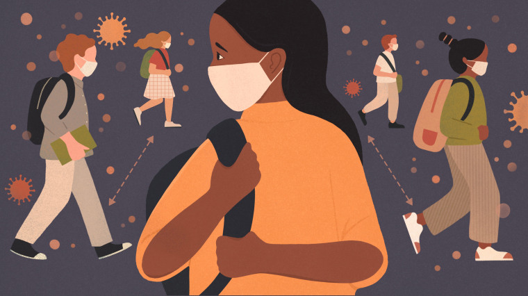 Image: A young girl wearing a face mask looks back as other children walk towards school as coronavirus spores loom.