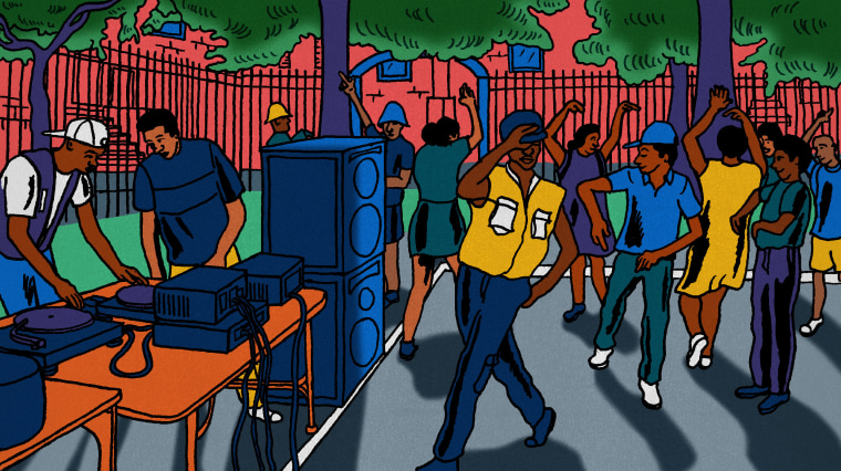 Image: Black people dance in a park next to a DJ booth with large speakers.